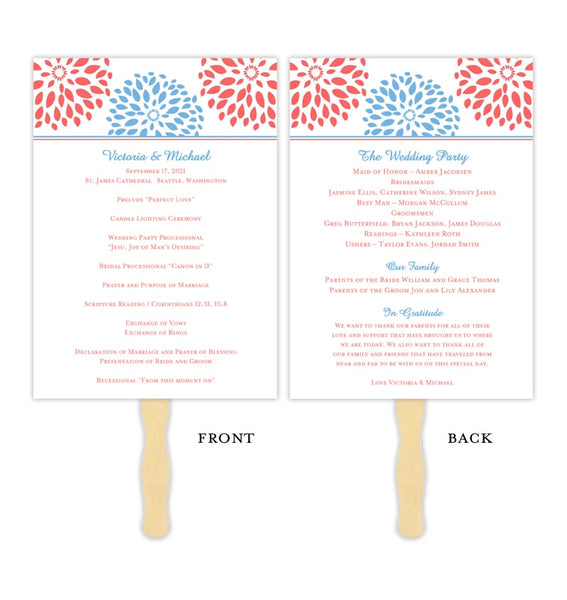 Wedding Program Fan Floral Petals Coral Blue Printable DIY Template