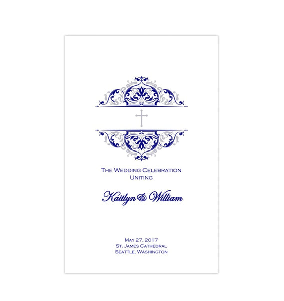 Catholic Church Wedding Program Grace Navy Blue Silver Printable DIY