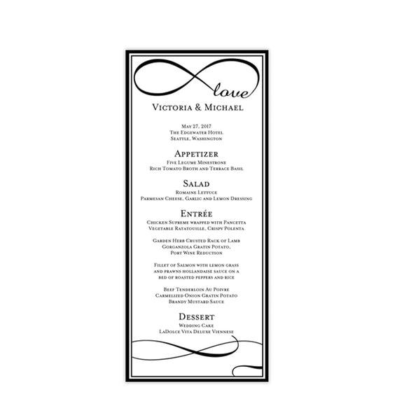 Wedding Menu Card Infinity Love Black Tea Length Printable DIY Template