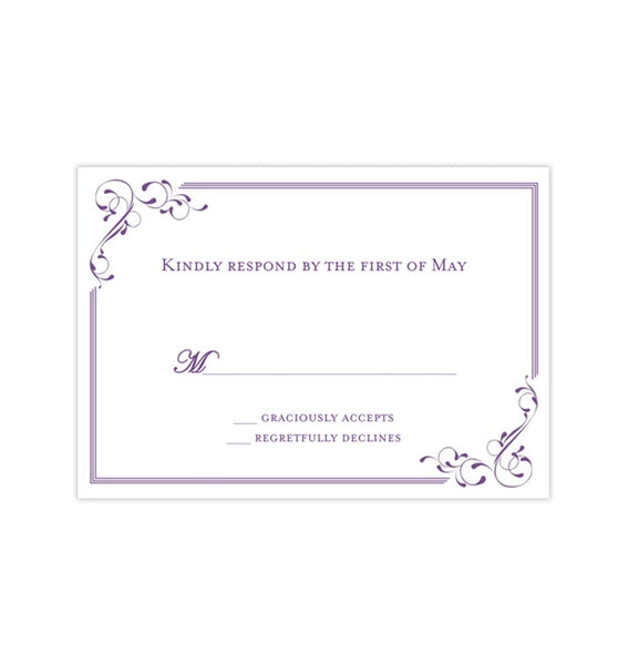 Wedding Response Cards Elegance Purple Printable DIY Templates