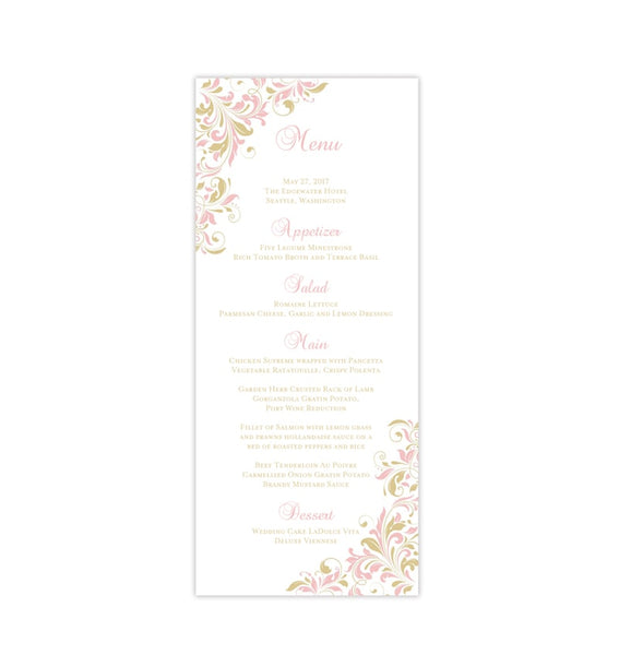 Wedding Menu Card Kaitlyn Blush Pink Champagne Tea Length Printable DIY Templates