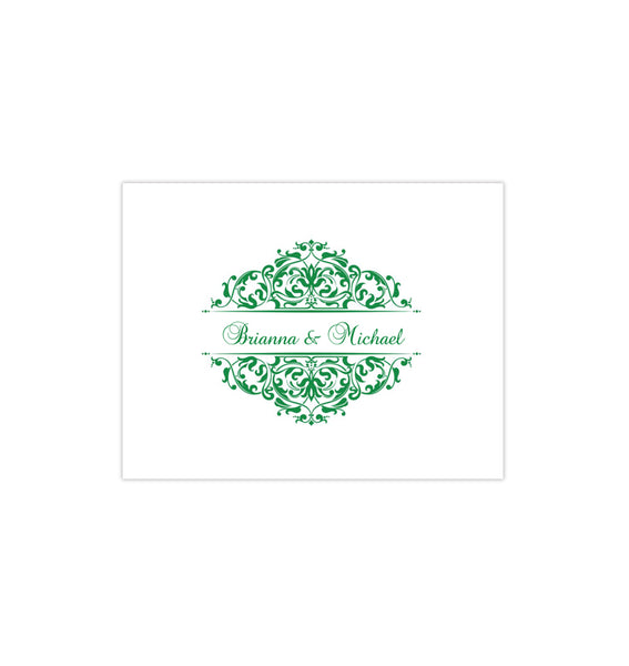 Wedding Thank You Card Grace Emerald Green Printable DIY Template