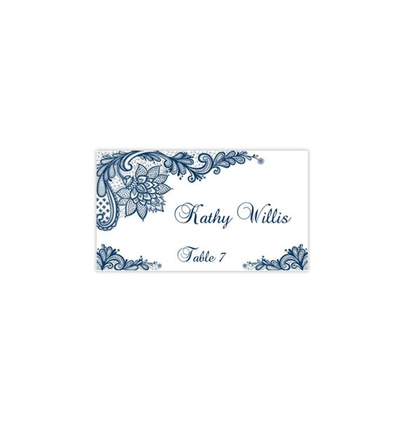 Wedding Seating Card Vintage Lace Navy Blue Tent Printable DIY Place