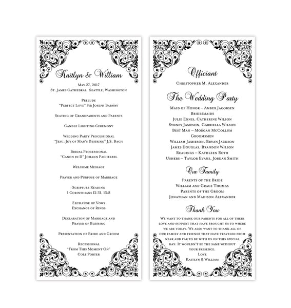 Slim Wedding Program Isabella Black Printable DIY Templates