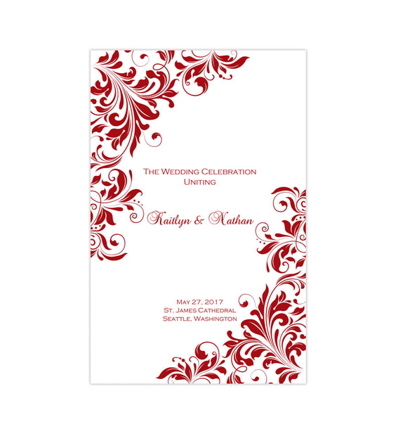 Wedding Program Template Kaitlyn Red Printable DIY