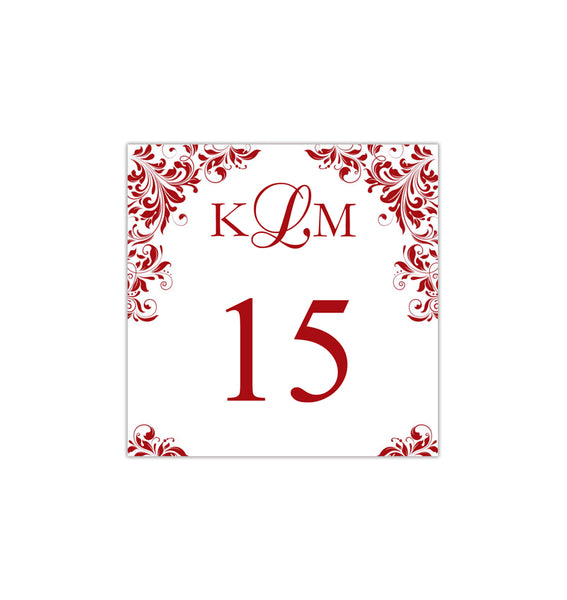 Printable Table Number Template Kaitlyn Red Tent DIY Wedding