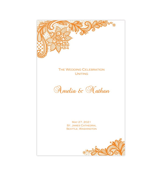 Wedding Program Template Vintage Lace Orange Printable DIY