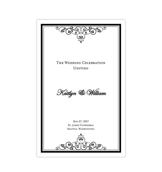 Wedding Program Template Vintage Black White Printable DIY