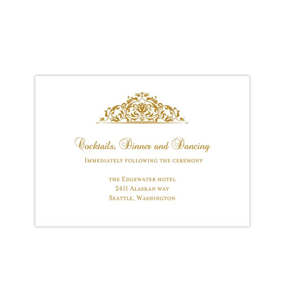 Wedding Reception Invitations Grace Gold Printable Templates