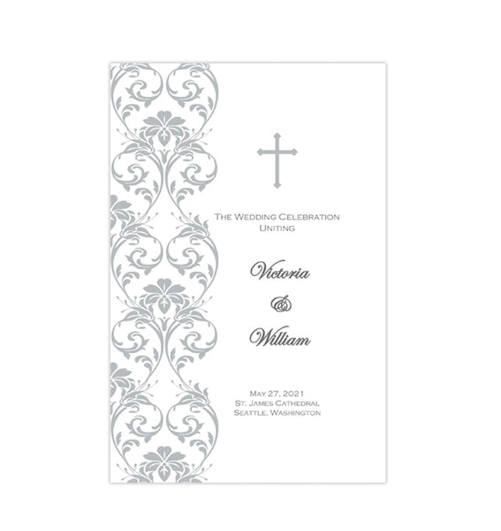 Catholic Church Wedding Program Damask Silver Printable DIY