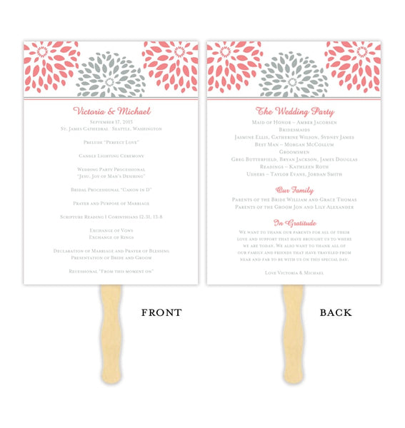 Wedding Program Fan Floral Petals Coral Gray Printable DIY Template