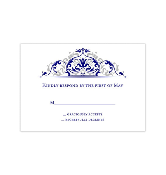 Wedding Response Cards Grace Navy Blue Silver Gray Printable DIY Templates