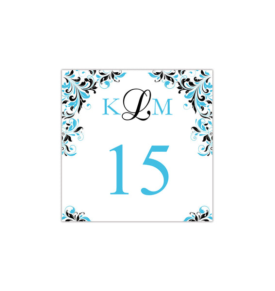 Printable Table Number Template Kaitlyn Malibu Blue Black Tent