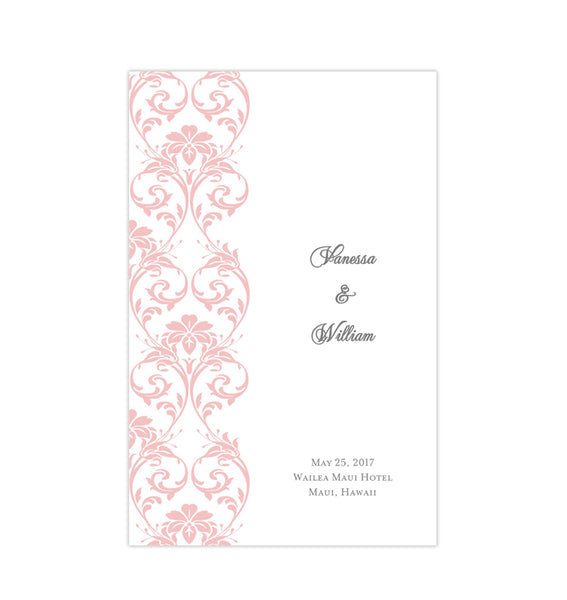 Wedding Program Template Damask Blush Pink Printable DIY