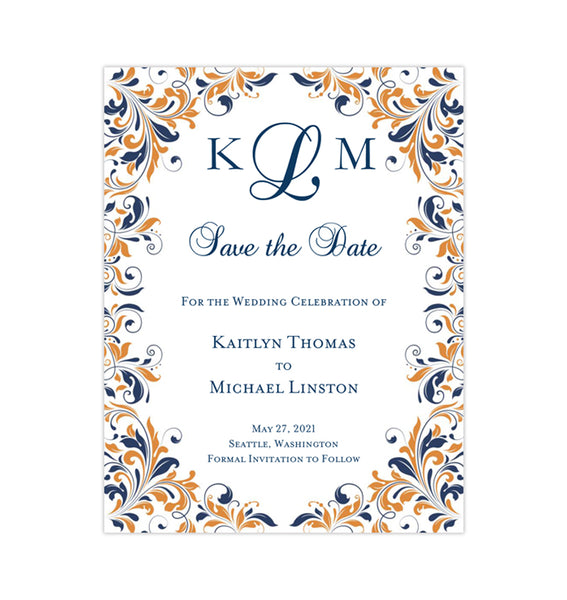 Wedding Save the Date Cards Kaitlyn Navy Coral Printable DIY Template