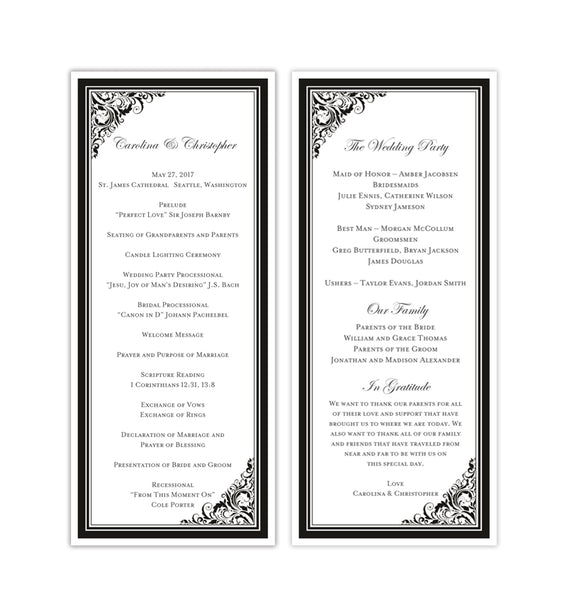 Slim Wedding Program Brooklyn Black White Printable DIY