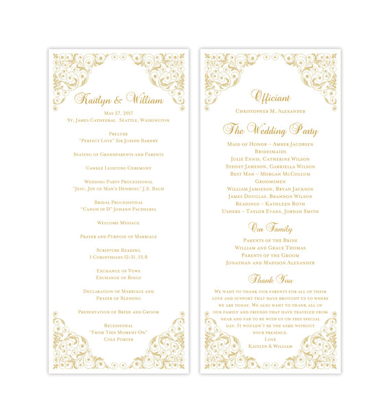 Slim Wedding Program Isabella Champagne Printable DIY Templates