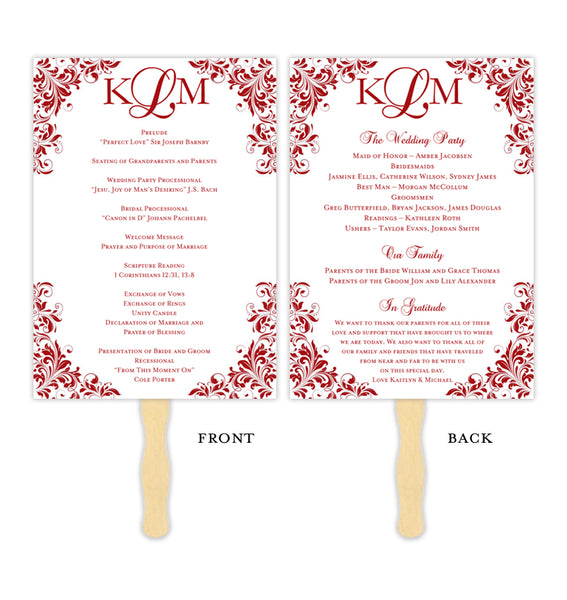 Wedding Program Fan Kaitlyn Red Monogram Printable DIY Template
