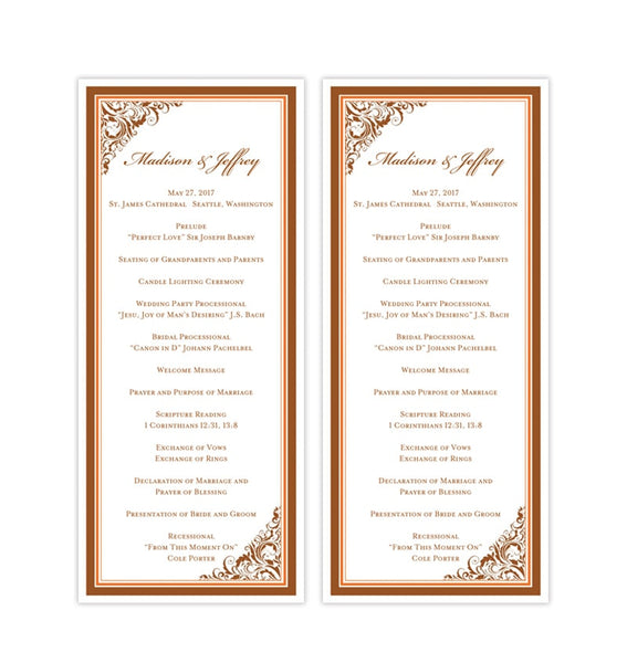 Slim Wedding Program Brooklyn Bronze Orange Fall Printable DIY