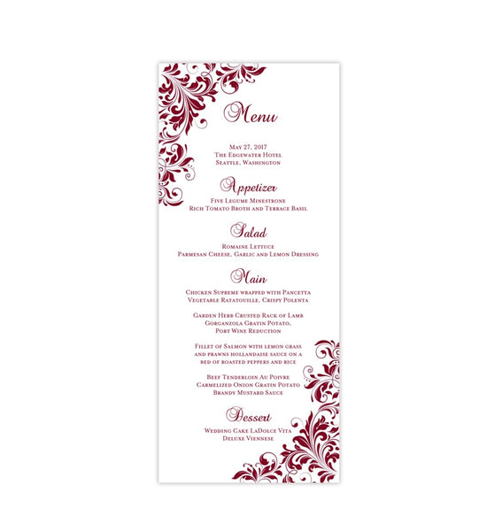 Wedding Menu Card Kaitlyn Burgundy Wine Cranberry Tea Length Printable DIY Templates
