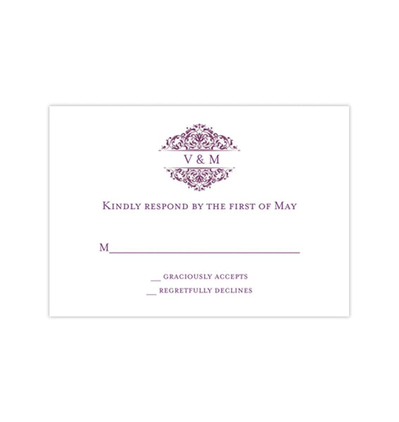 Wedding Response Cards Grace Plum Purple Printable DIY Templates