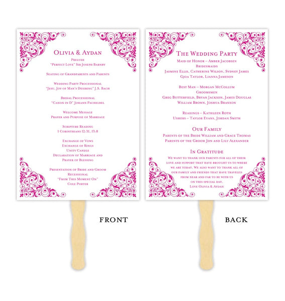 Wedding Program Fan Isabella Begonia Pink Printable DIY Template
