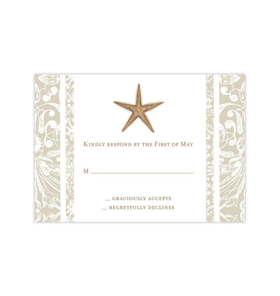Wedding Response Cards Beach Starfish Sand Printable DIY Templates