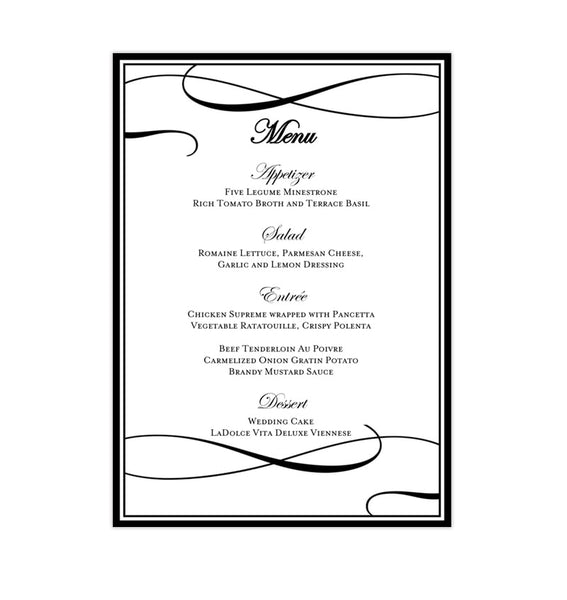 Wedding Reception Menu Template It's Love Black White 5x7 Printable DIY