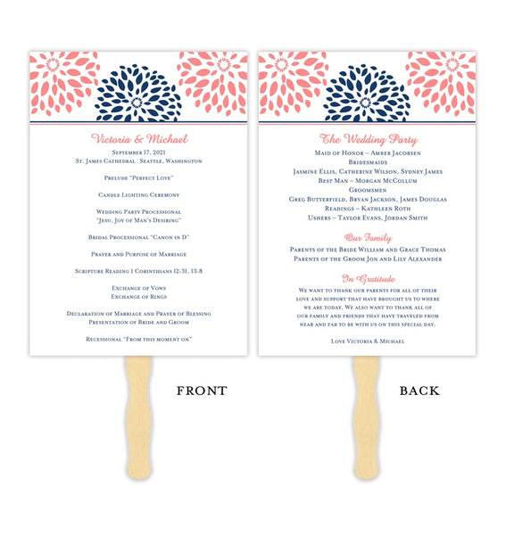 Wedding Program Fan Floral Petals Coral Navy Printable DIY Template