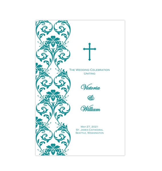 Catholic Church Wedding Program Damask Teal Printable DIY