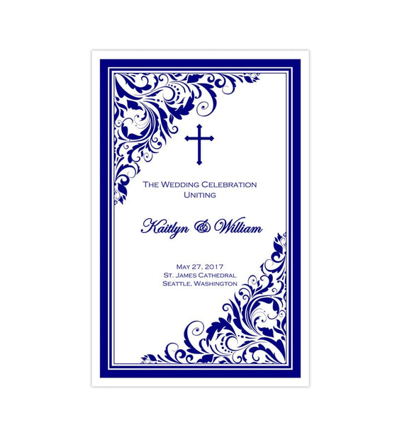 Catholic Church Wedding Program Brooklyn Royal Navy Blue Printable DIY