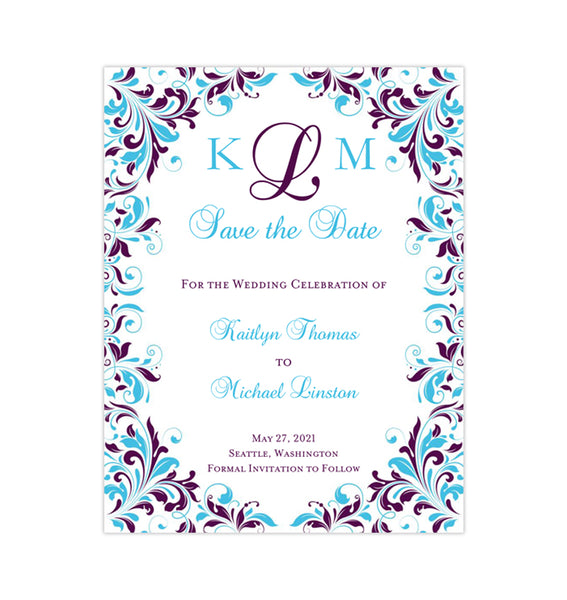 Wedding Save the Date Cards Kaitlyn Purple Turquoise Printable DIY Template