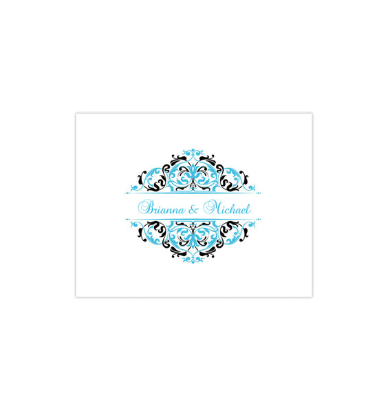 Wedding Thank You Card Grace Malibu Blue Black Printable DIY Templates