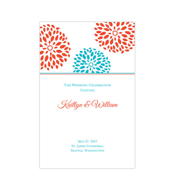 Wedding Program Template Floral Petals Coral Turquoise Printable DIY