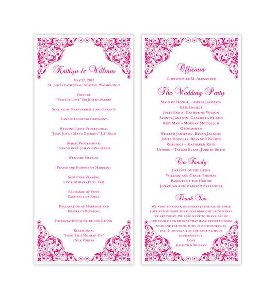 Slim Wedding Program Isabella Hot Pink Printable DIY Templates