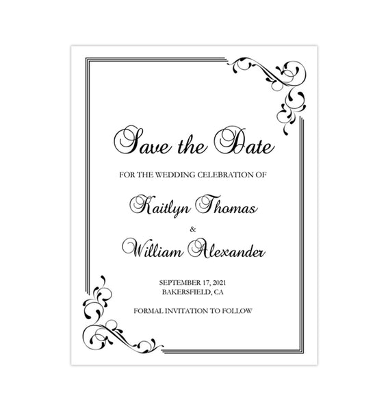 Wedding Save the Date Cards Elegance Black White Printable DIY