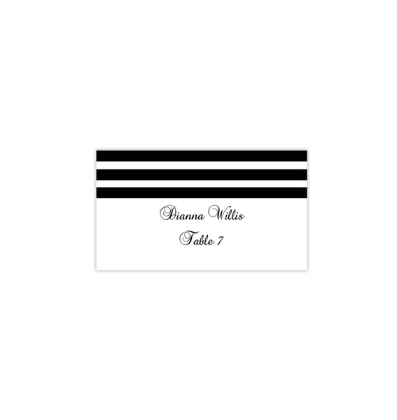 Wedding Seating Card Simply Stripes Black White Tent Printable DIY Place