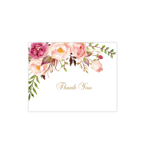 Printable Wedding Thank You Card Romantic Blossoms DIY Template