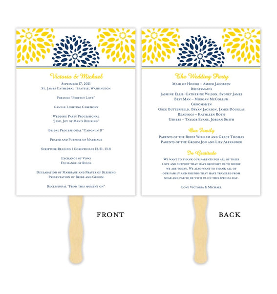 Wedding Program Fan Floral Petals Navy Blue Yellow Printable DIY Templates