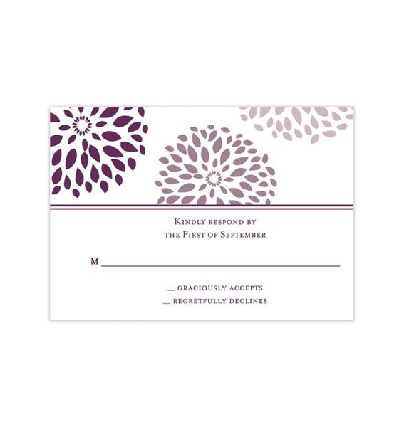 Wedding Response Cards Floral Petals Purple Plum Printable DIY Templates