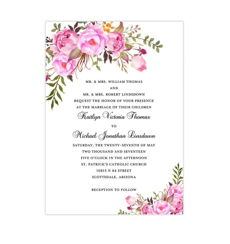 Wedding Invitations Templates | Printable Wedding Invitation Romantic Blossoms Pink Shades