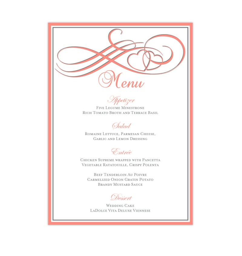Wedding Reception Menu Template Two Hearts Become One Coral and