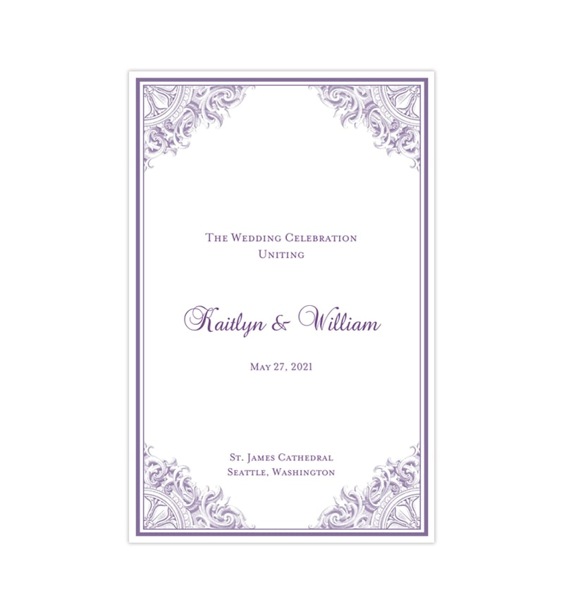 wedding program template vintage purple wedding template shop wedding program template vintage purple