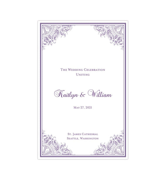 Wedding Program Template Vintage Purple Printable DIY