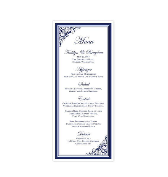 Wedding Menu Card Brooklyn Navy Blue Tea Length Printable DIY Template