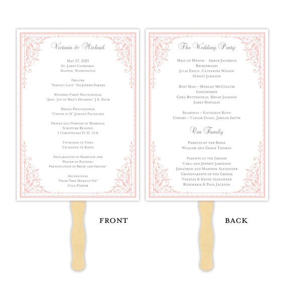 Wedding Program Fan Maria Pink Printable DIY Templates
