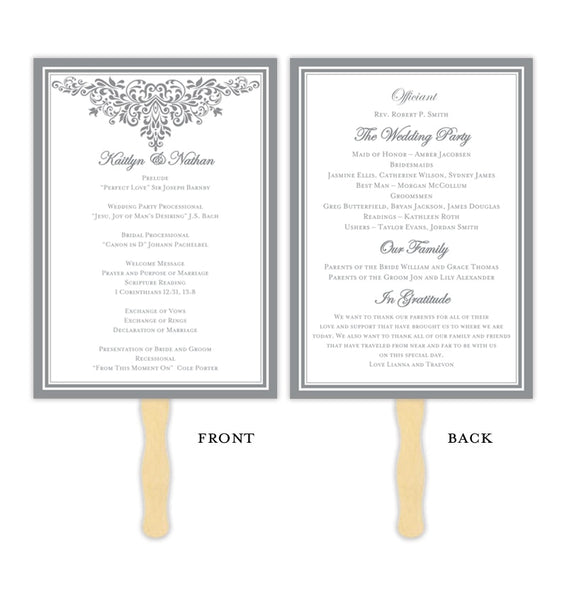 Wedding Program Fan Anna Maria Gray Printable DIY Templates