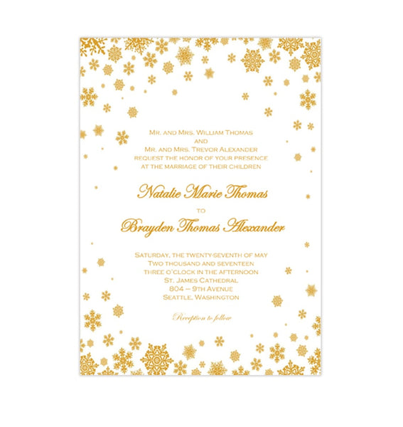 Snowflake Wedding Invitation Gold Printable DIY Template