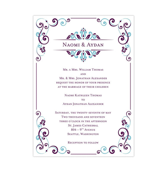 Julia Wedding Invitation Peacock Blue Purple Printable DIY Templates