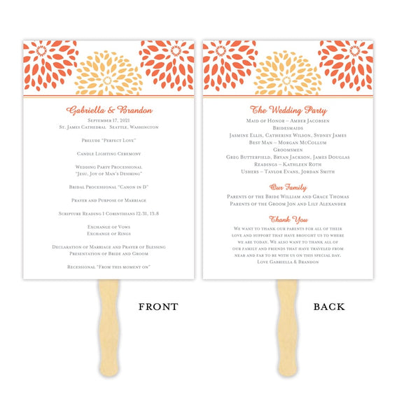 Wedding Program Fan Floral Petals Coral Orange Printable DIY Template